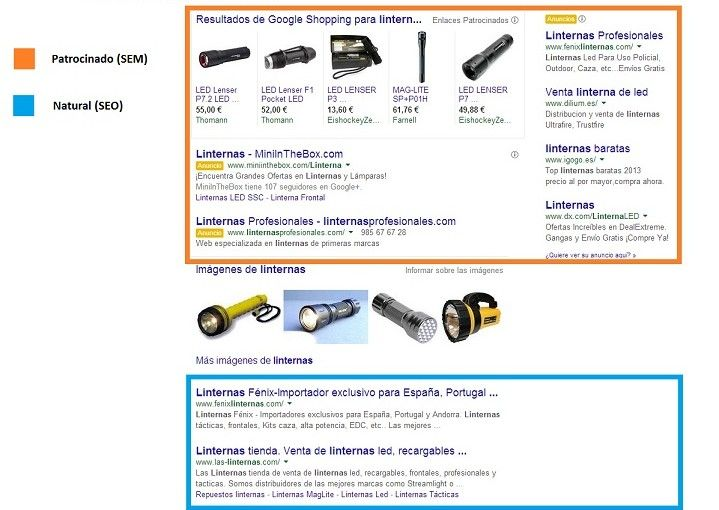 Google muestra de SEO y SEM