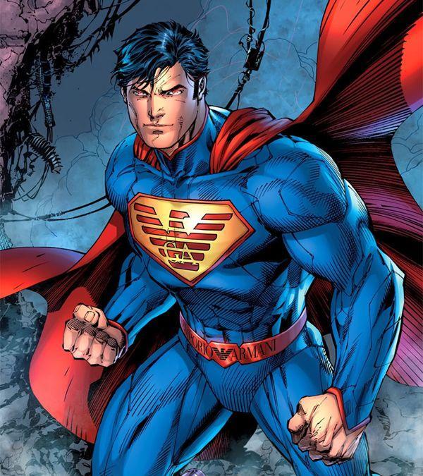 El superhéroe más icónico luciendo la marca de moda masculina posiblemente más icónica